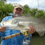 Roger Sinclair with an 84cm Hardie's Lagoon barra.