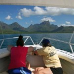 Approaching Zoe Bay. That's 1121m high Mt. Bowen, the highest mountain on Hinchinbrook Island, in the background.