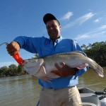 Gus Storer shows off a Murray Cod he caught trolling