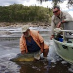 Rod Harrison releasing a Mrray cod caught at the Gwydir River end of Lake Copeton
