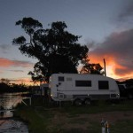 Sunset over the riverside camp