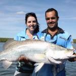 Tony Oalumbo and Jenny Leighton with a 104cm barramundi