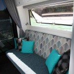 The lounge/bed section on the portside.