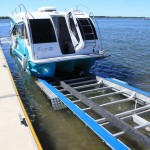 Retrieval is made easy by powering the Escape onto the trailer using the outboard.