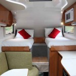 Forward view of the Suncamper's single beds