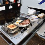 The slide out kitchen was perfect to produce a hot brekkie for 6 people.