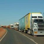 A congested section of the Great Northern Highway between Newman and Port Hedland, WA