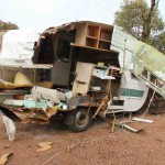 It seems this damage done to a caravan turning off Eyre Highway was caused by a following road train_
