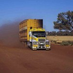 Pull over _ let dust settle - road train near Urandangi, Qld