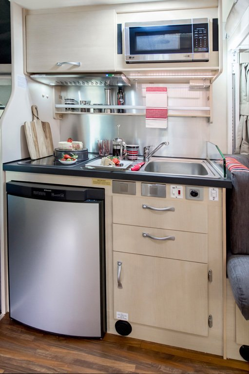 A well appointed kitchen for a motorhome of its size- you can prepare the perfect meal for dining out under the awning of the Avida Leura. This is the B6712 model pictured.