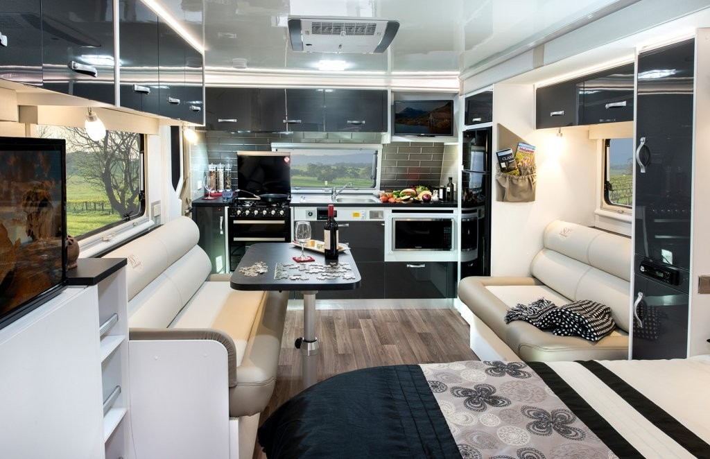 This is the interior of the 50th anniversary limited edition CV7052SL Topaz caravan. Stunning, isn't it?