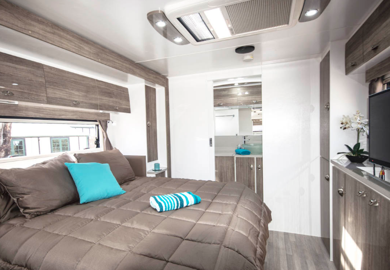 Pride Platinum Nova Caravan bedroom