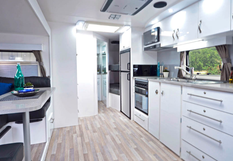 Pride Platinum Nova Caravan kitchen