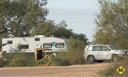 Caravan at Cuttaburra crossing
