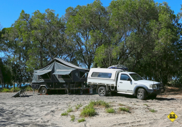 Camper trailers are well-suited to Inskip's sandy condi