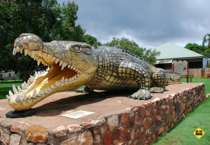 Krys the life-size replica crocodile killed in the Norman River proudly guards the town of Normanton.
