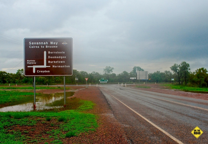 Roads of the Savannah Way during the wet season.