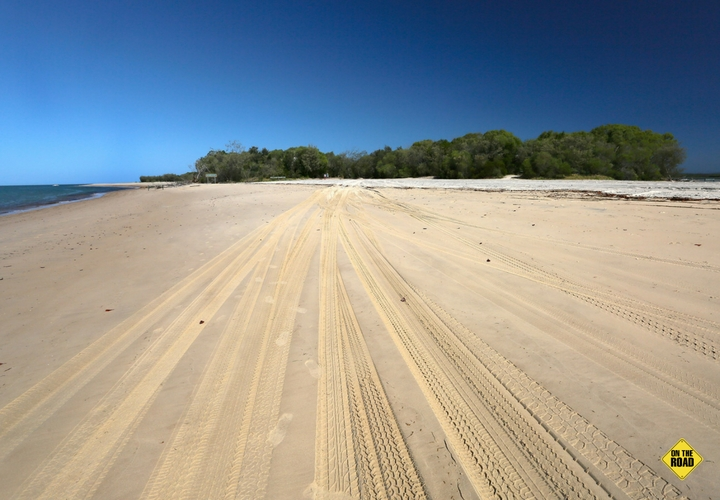 These tracks lead to the barge at Inskip Point