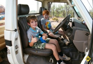 Queensland Van Trip - kids in a truck