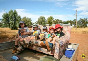 Queensland Van Trip - kids in a truck sofa