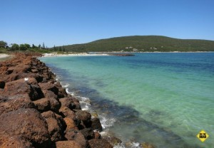 Looking north from Emu Beach towards Emu Point, where the calm waters of Oyster Harbour meet King George Sound.