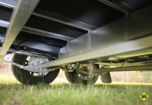 Nova Vita meranti framed body sits on a 100mm Preston Supergal chassis with 100m risers running on tandem axles