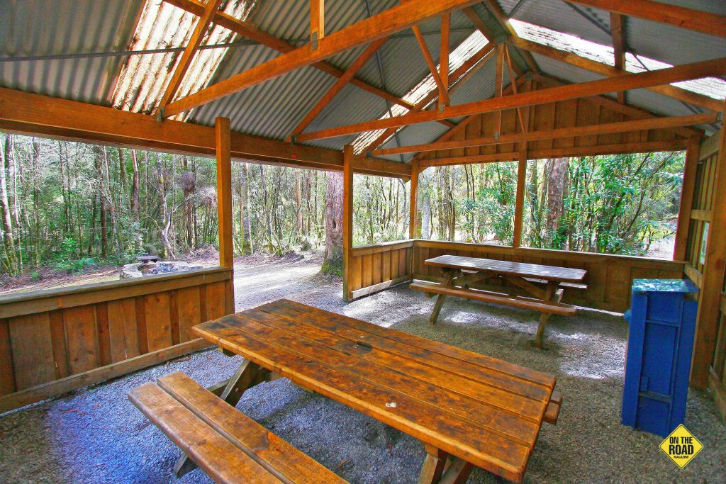 The camp kitchen shelter at Huon Campground.
