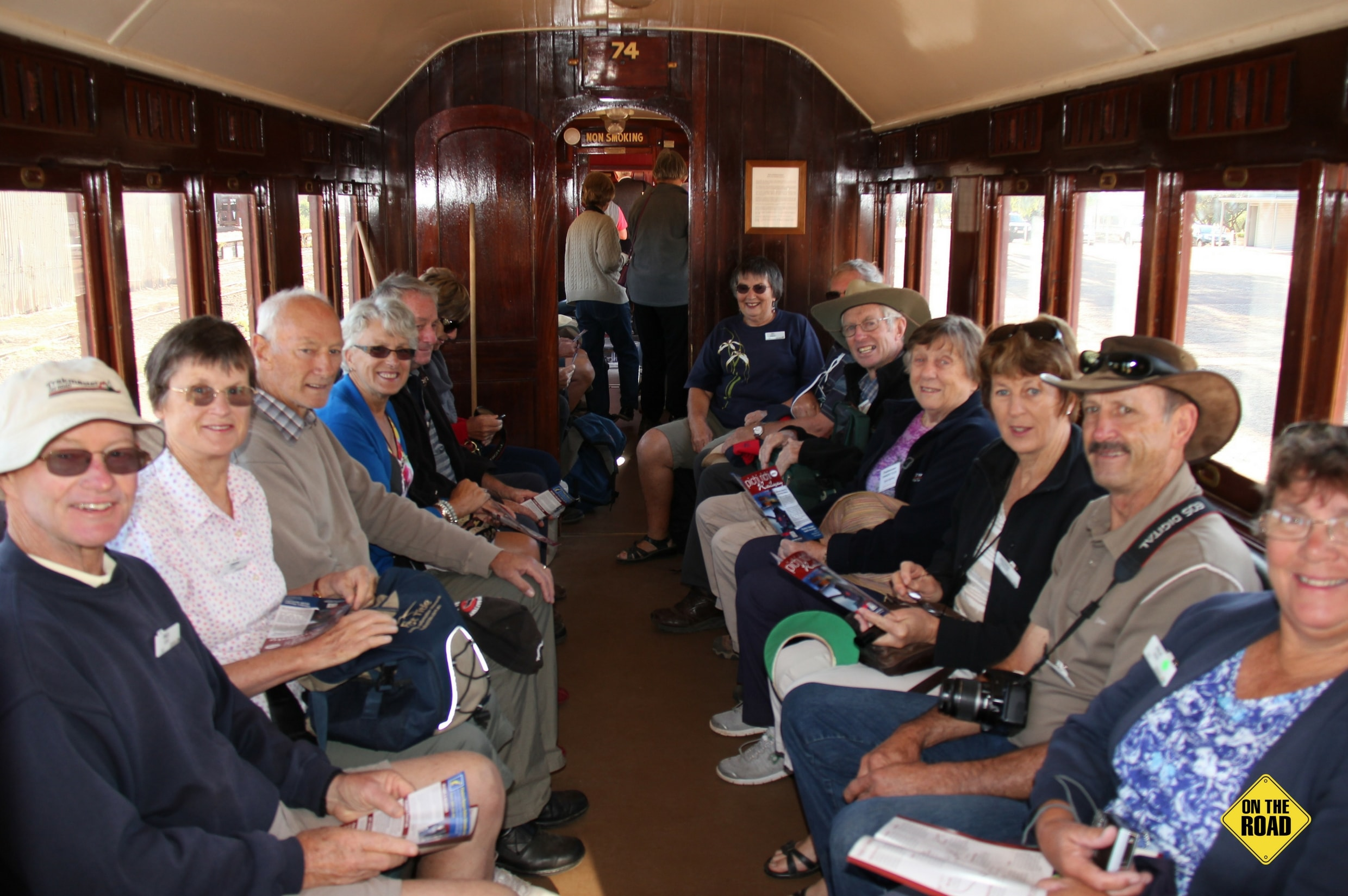 A happy group on board a fully restored PRR carriage