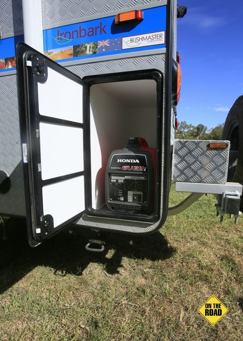 The Honda generator has its own storage