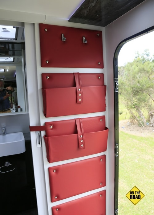 The storage pouches near the door are very convenient for maps and your copy of On The Road magazine