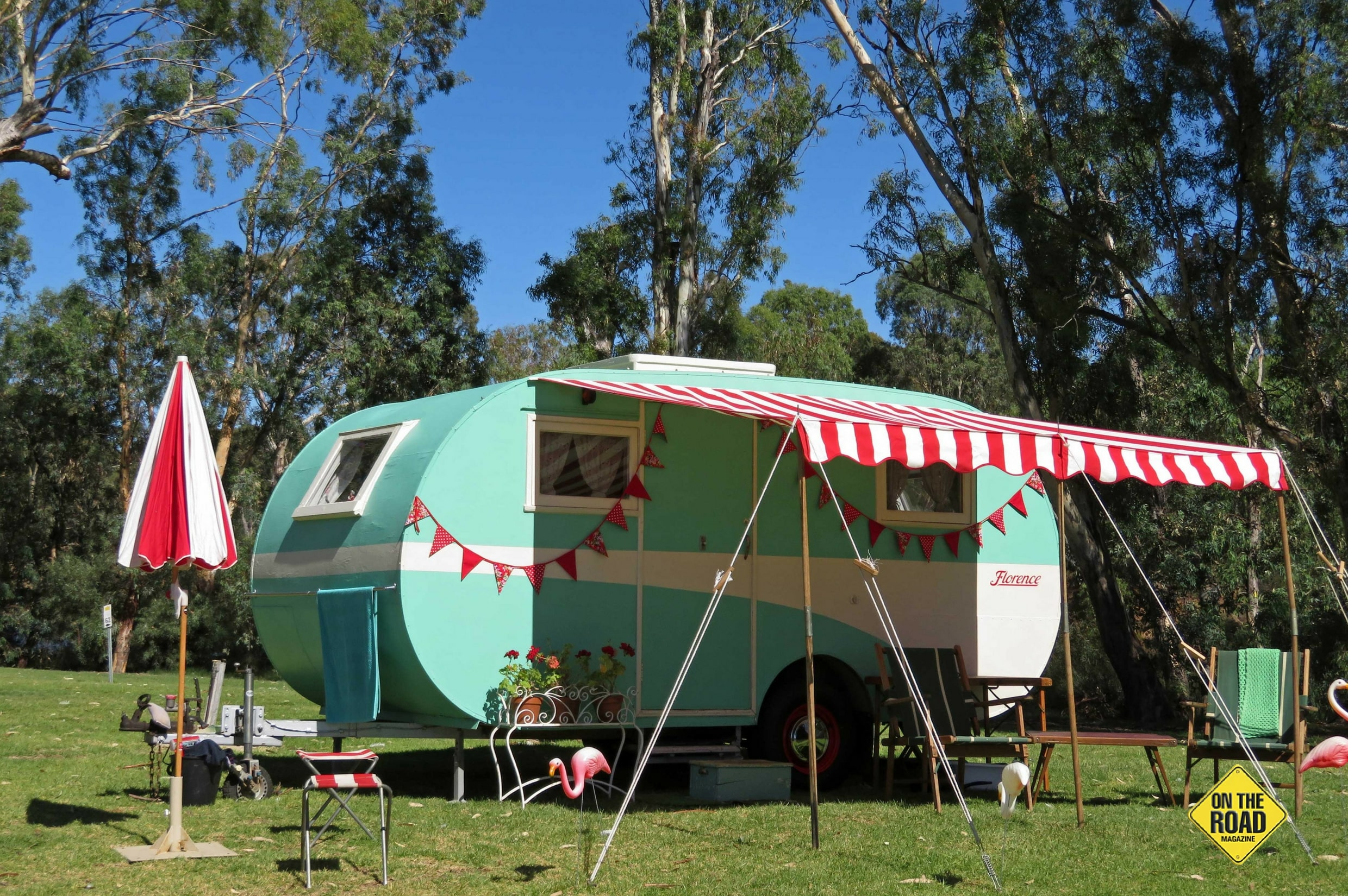 This 1940s home built wooden caravan belongs to Marcus and Alison of Bendigo who organised the event