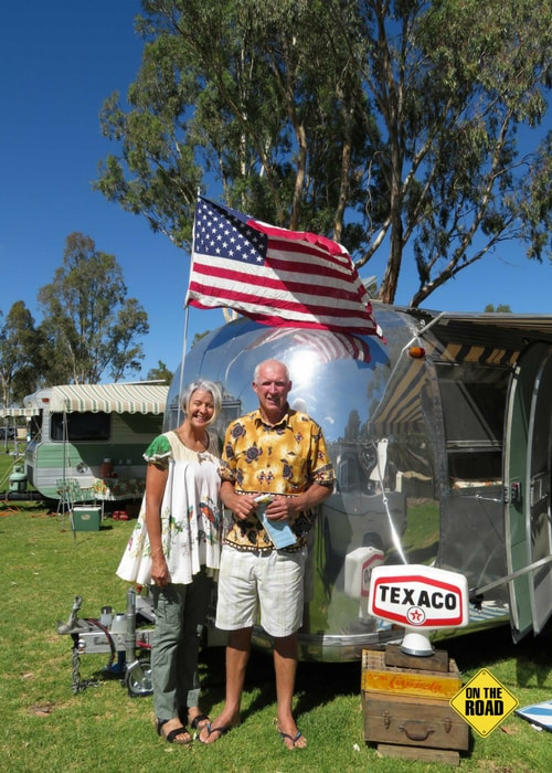 Chris and Julie with their iconic polished Aistream caravan