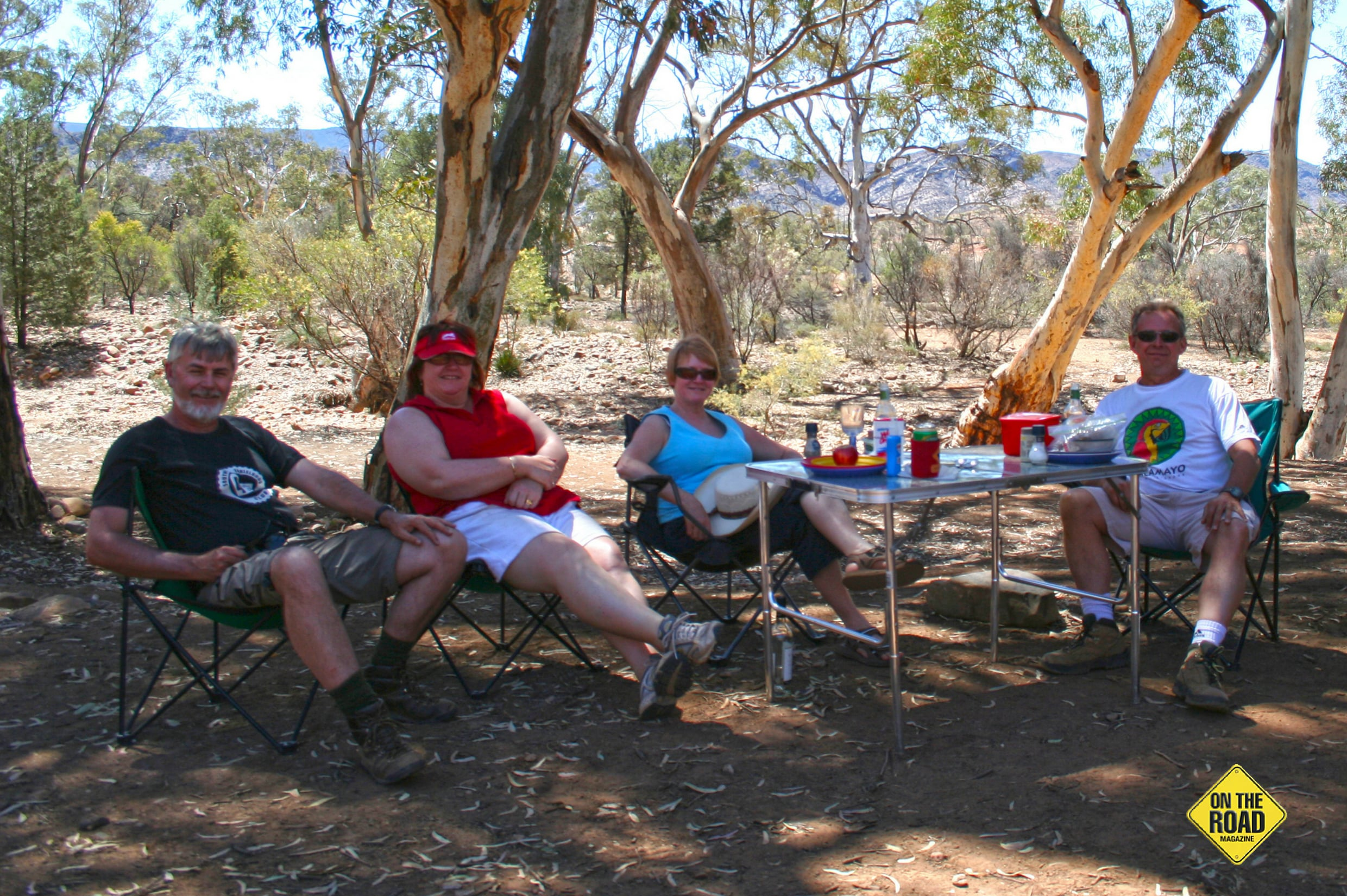 The gang at lunch in the Gammon Ranges SA