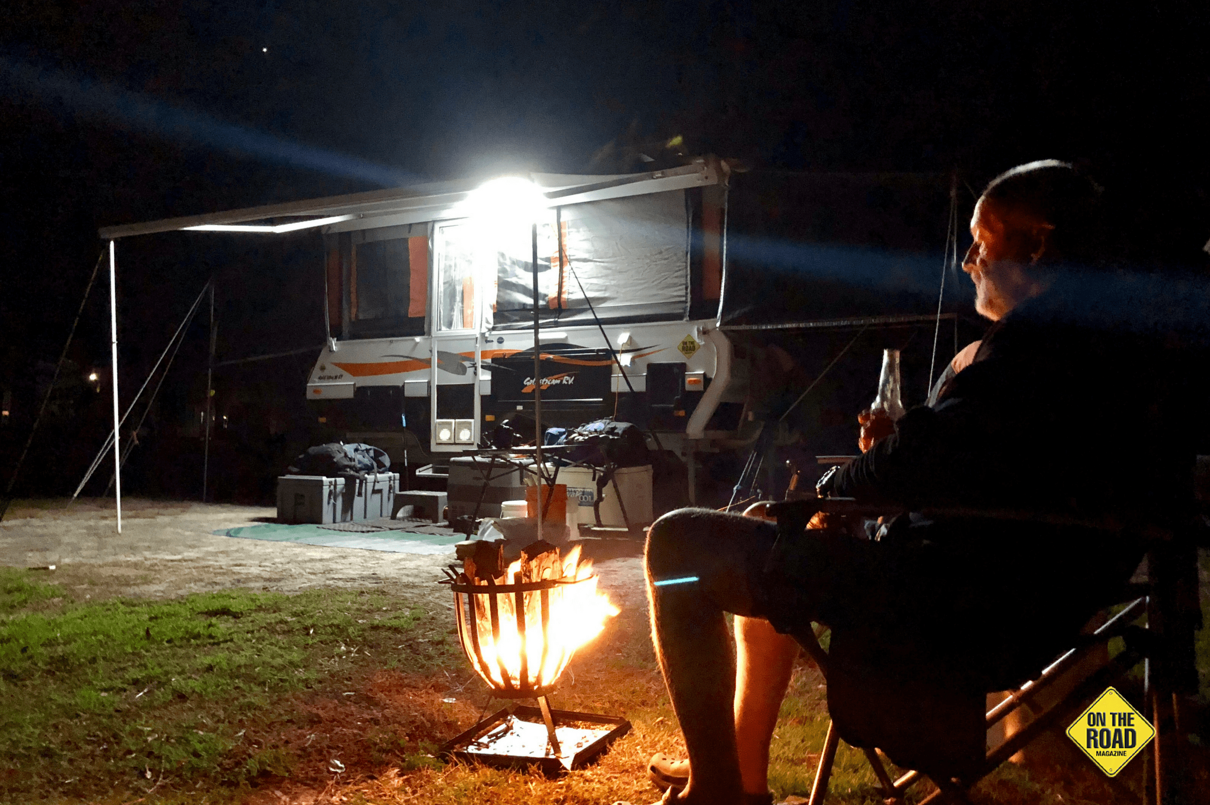 A cold beer around the fire at days end