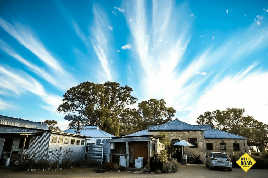 Glenroy shearing shed under a cloud strewn sky