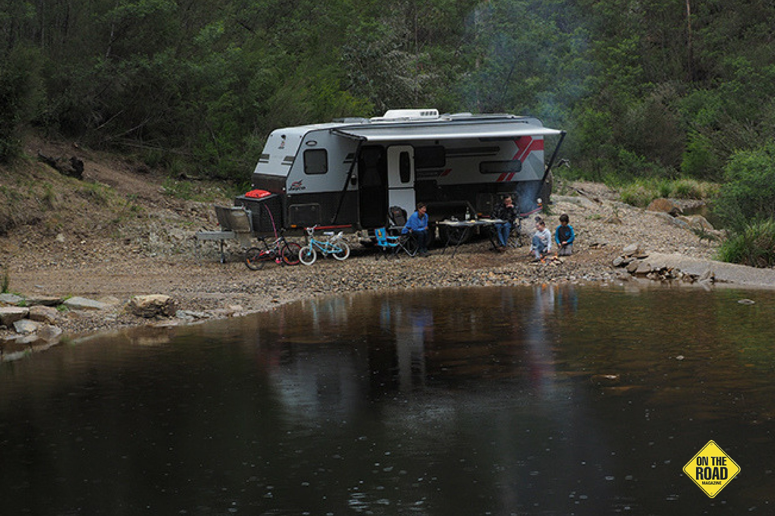 The Jayco Adventurer camping in the river