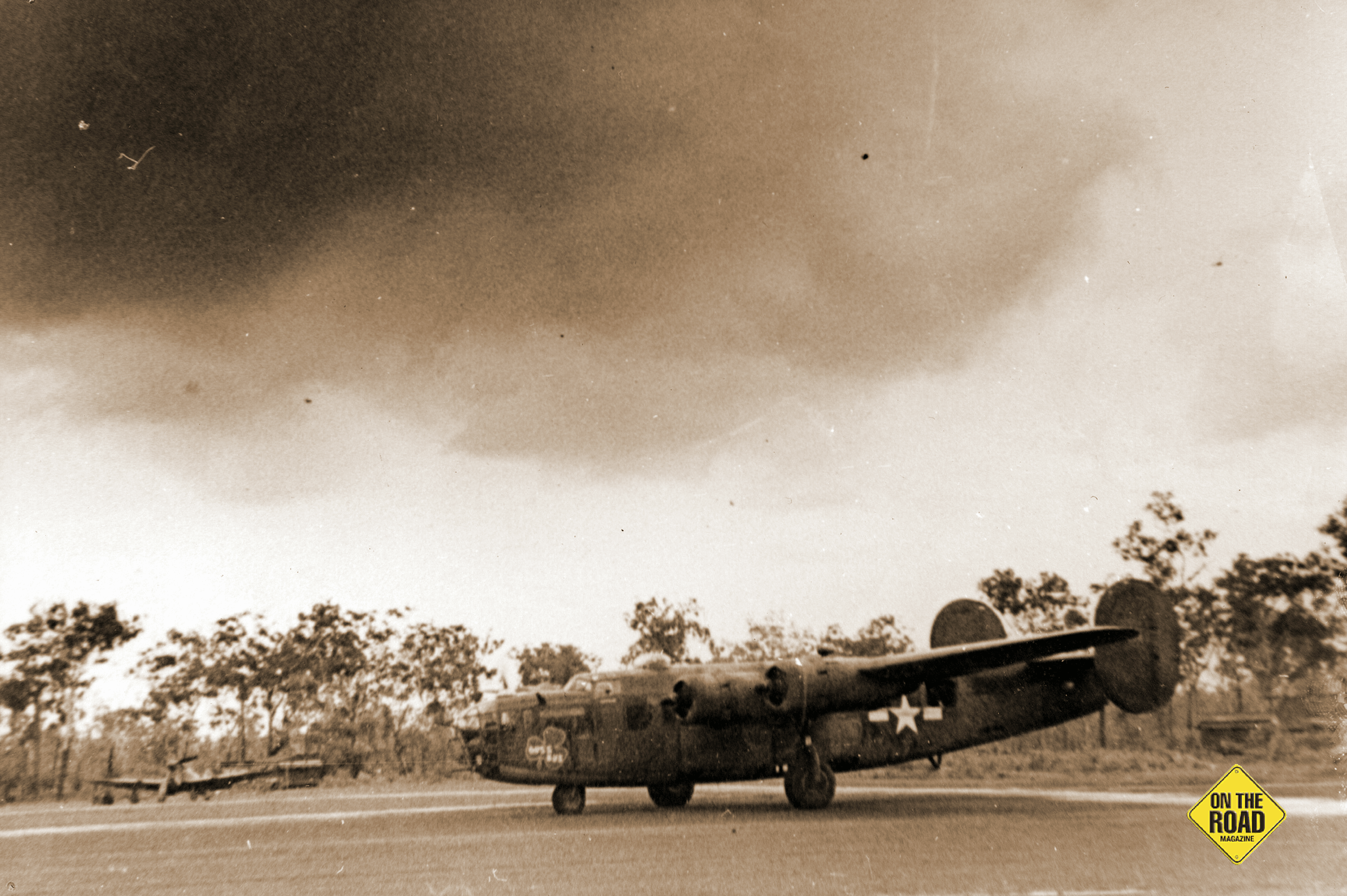 A B24 Liberator bomber at the secret air base at Corunna Downs during World War II compressor