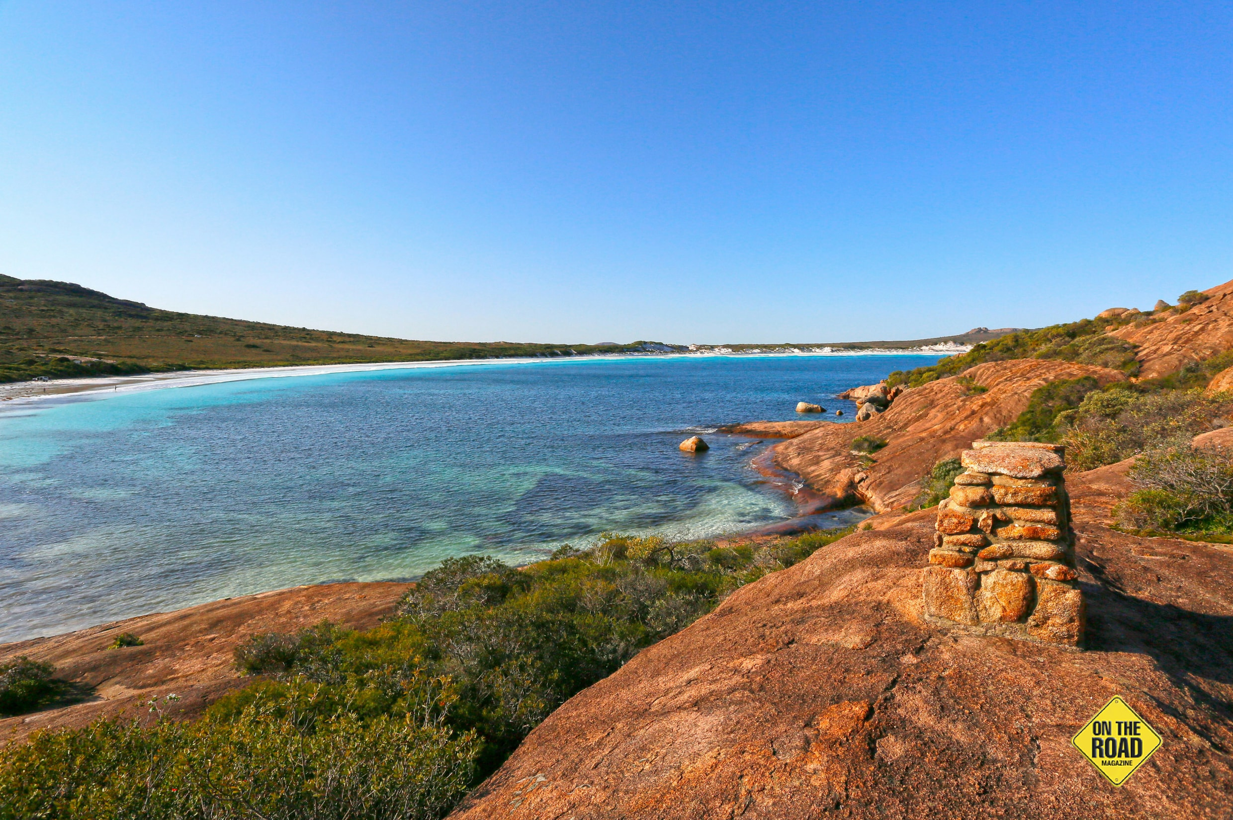 The cairn commemorating Matthew Flinders' visit to Lucky Bay in 1802