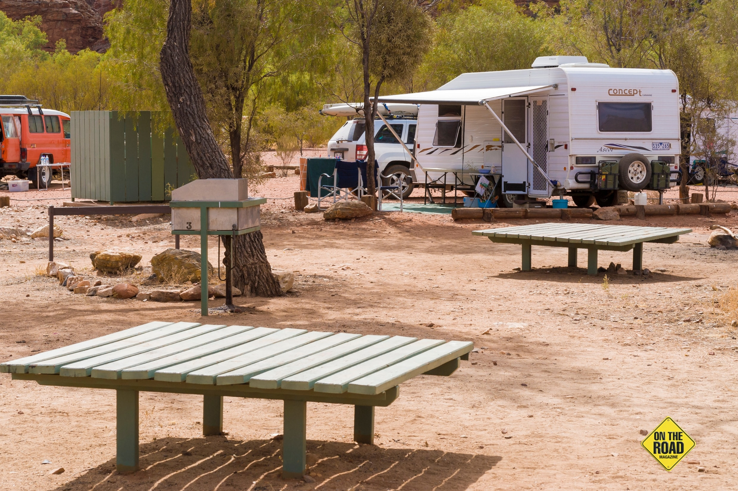 For affordable camping with hot showers and more head to Ormiston Gorge