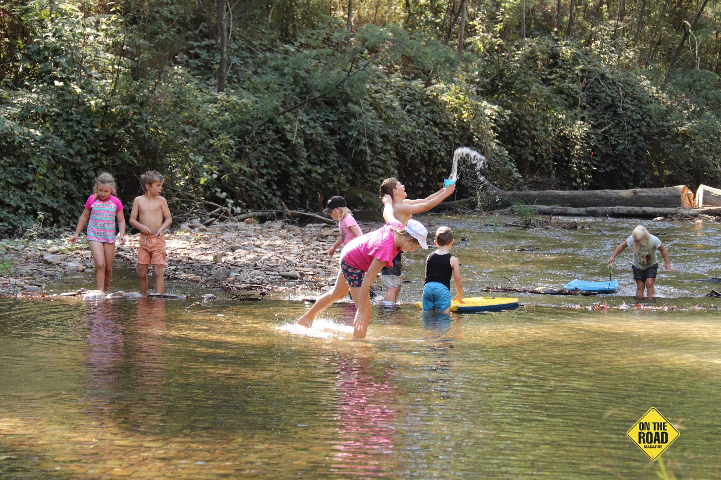 Children swimming and playing at the creek
