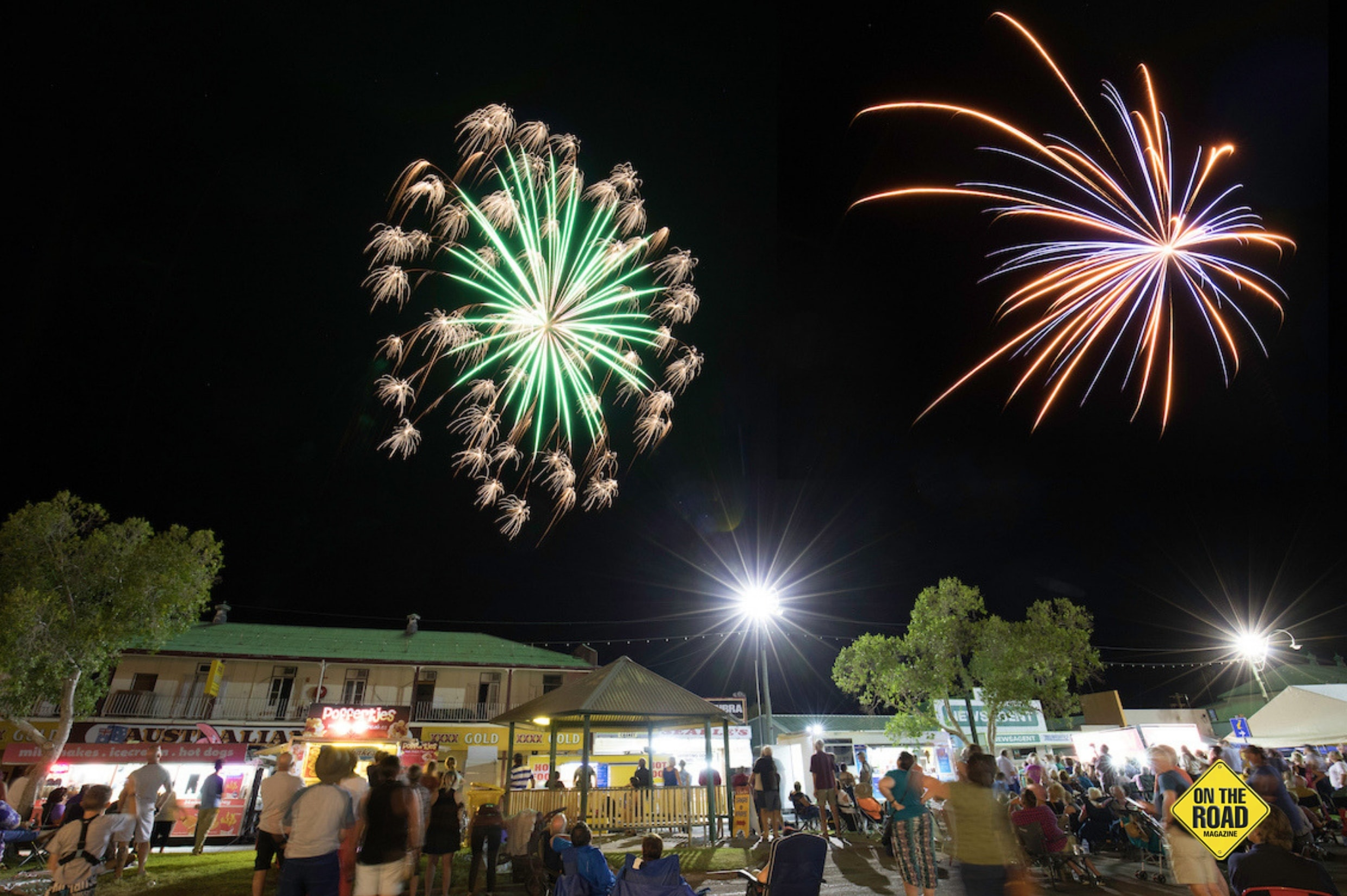 Fireworks above street party. Winton Outback Festival Image Credit Barry Alsop