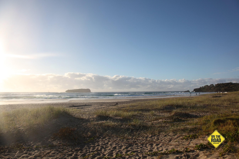 The beautiful sandy surfbeach at Fingal Head.