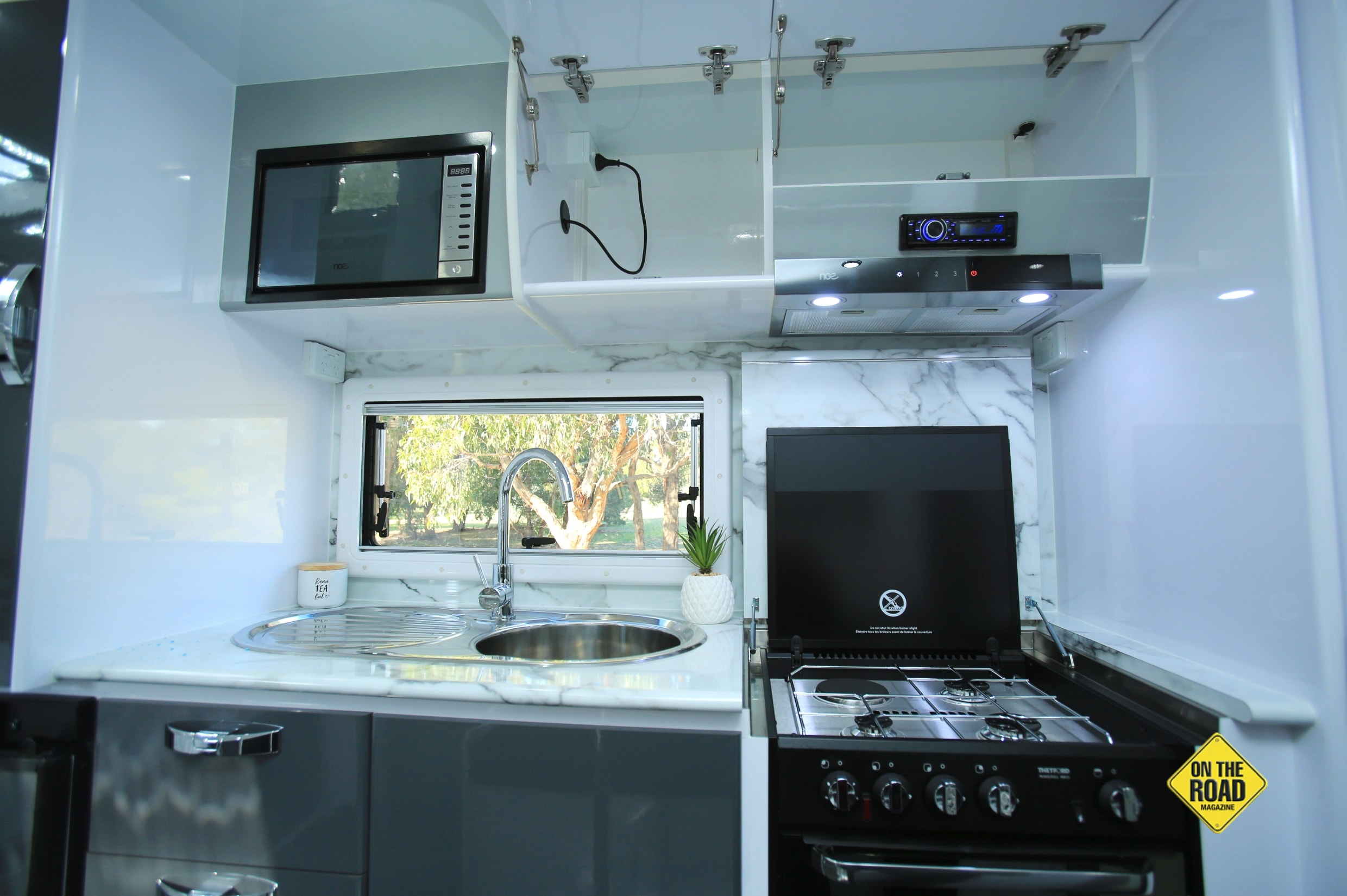 The kitchen has good quality appliances for great meal preparation.