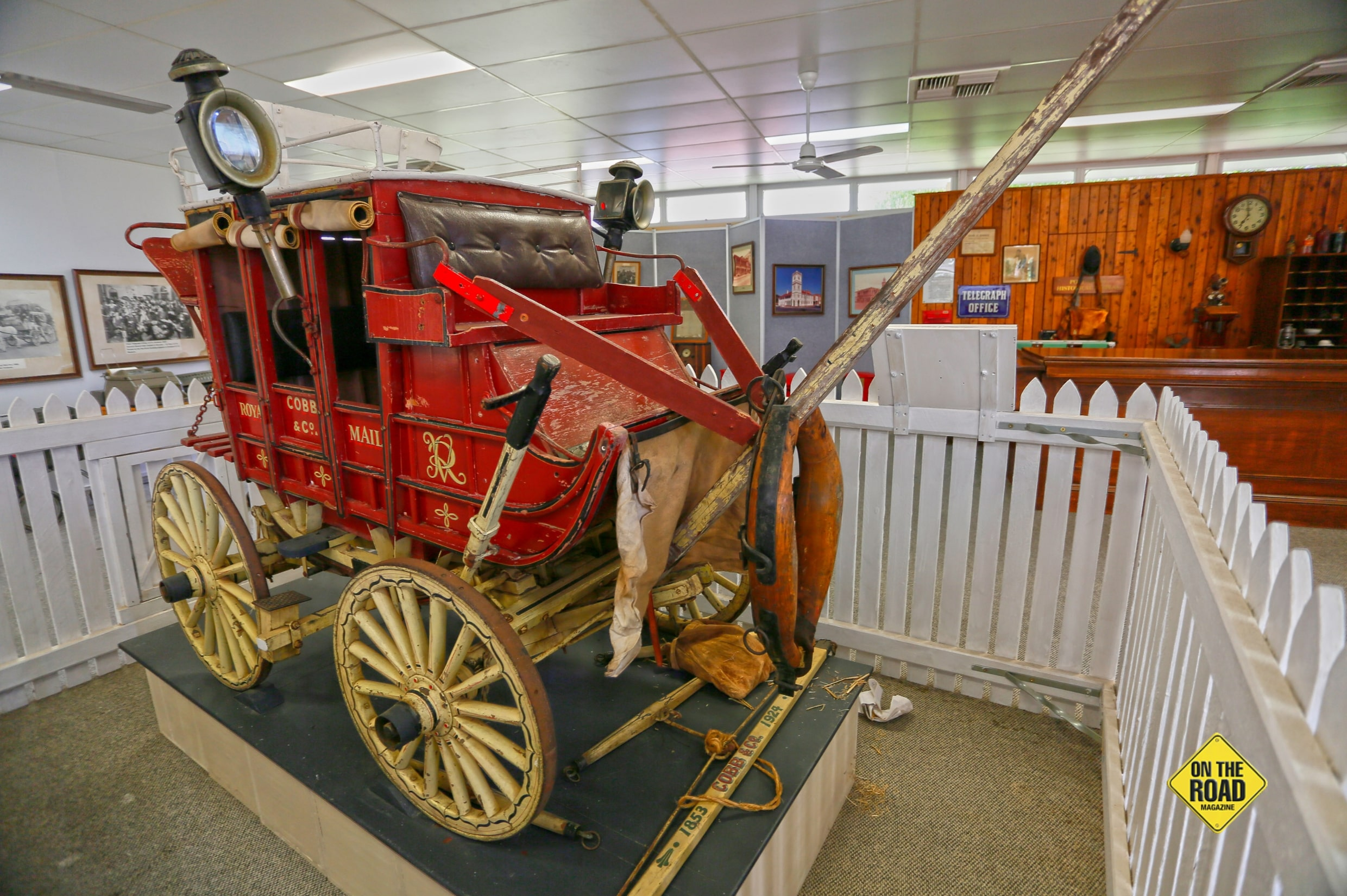 A Cobb & Co coach is part of the exhibition celebrating postal workers at the AWHC.-min.