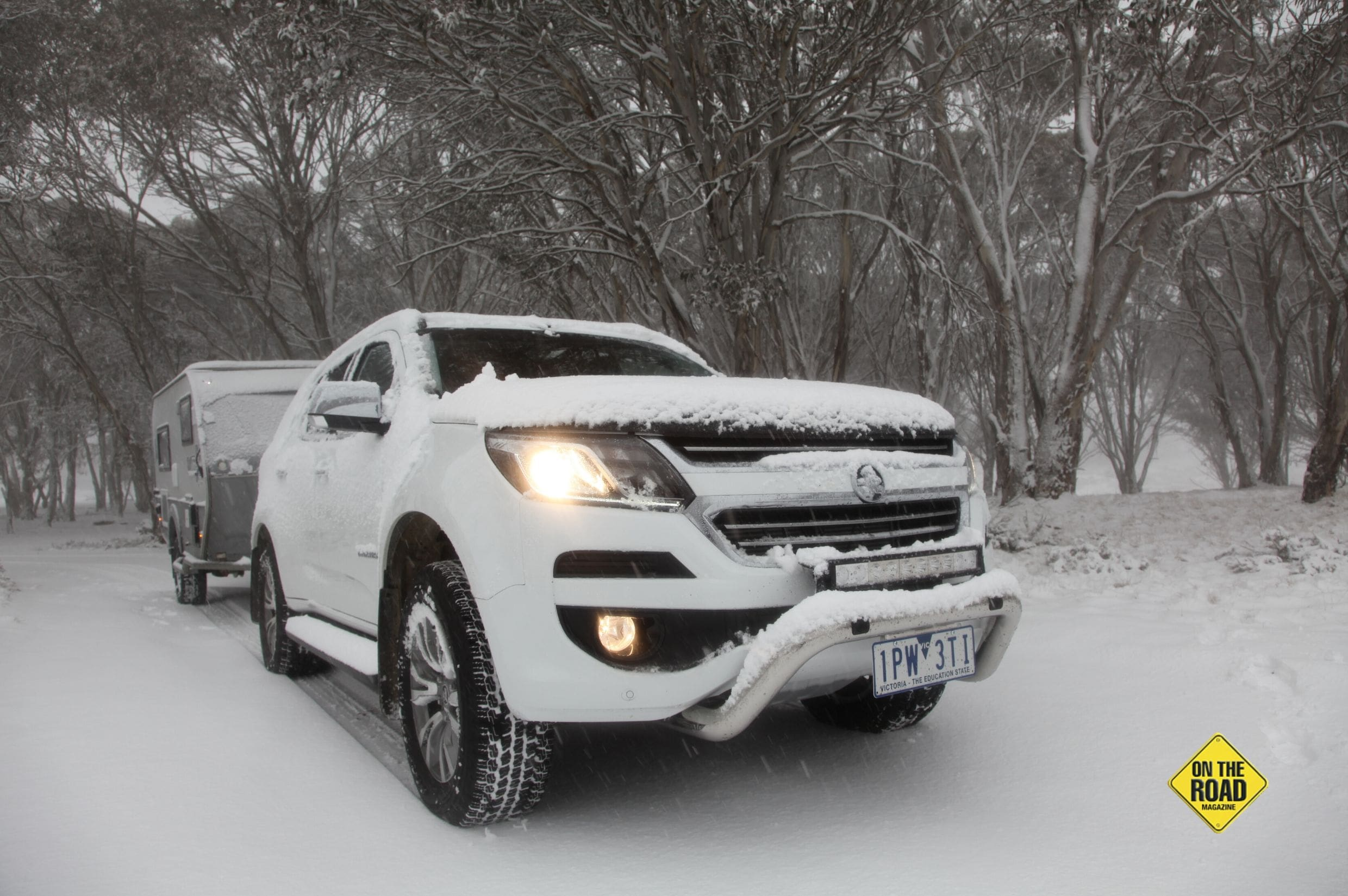 We took the Holden up to the snow and it handled the conditions with ease-min