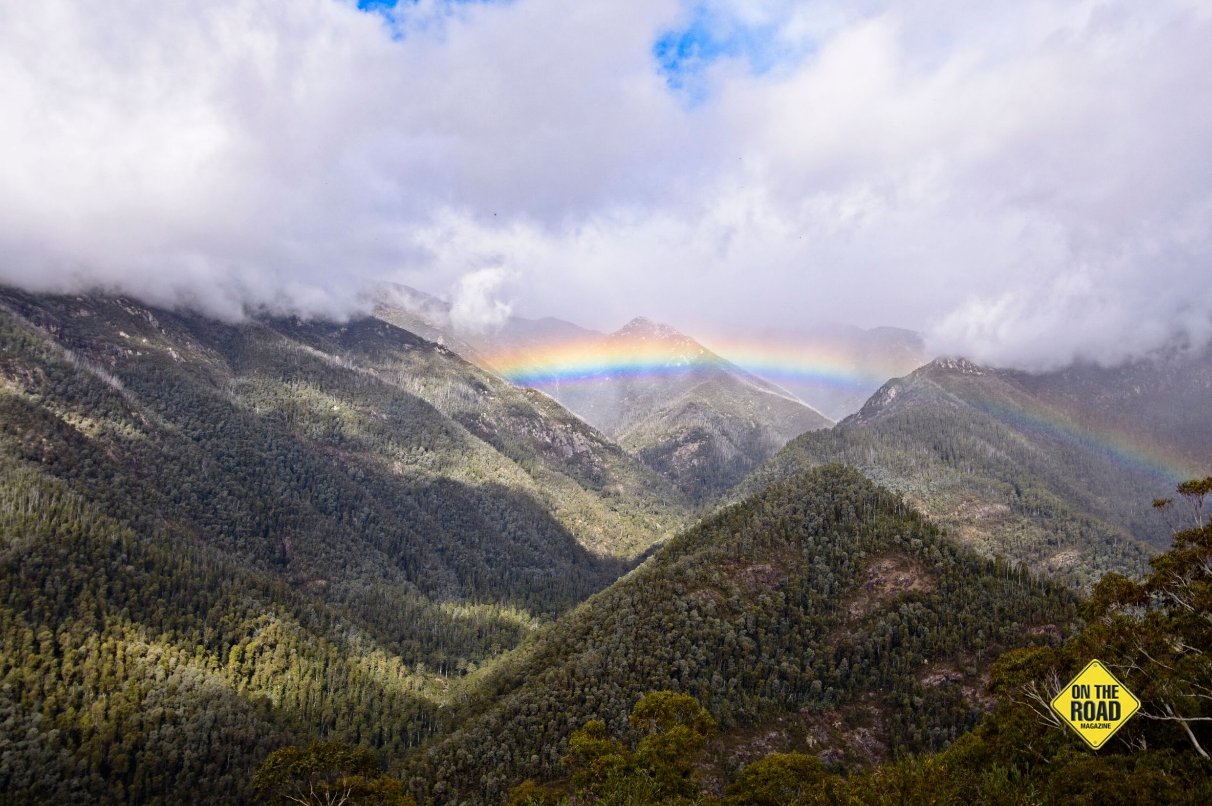 Olsens Lookout on the way to Geehi Dam shrouded with mist and complete with rainbow
