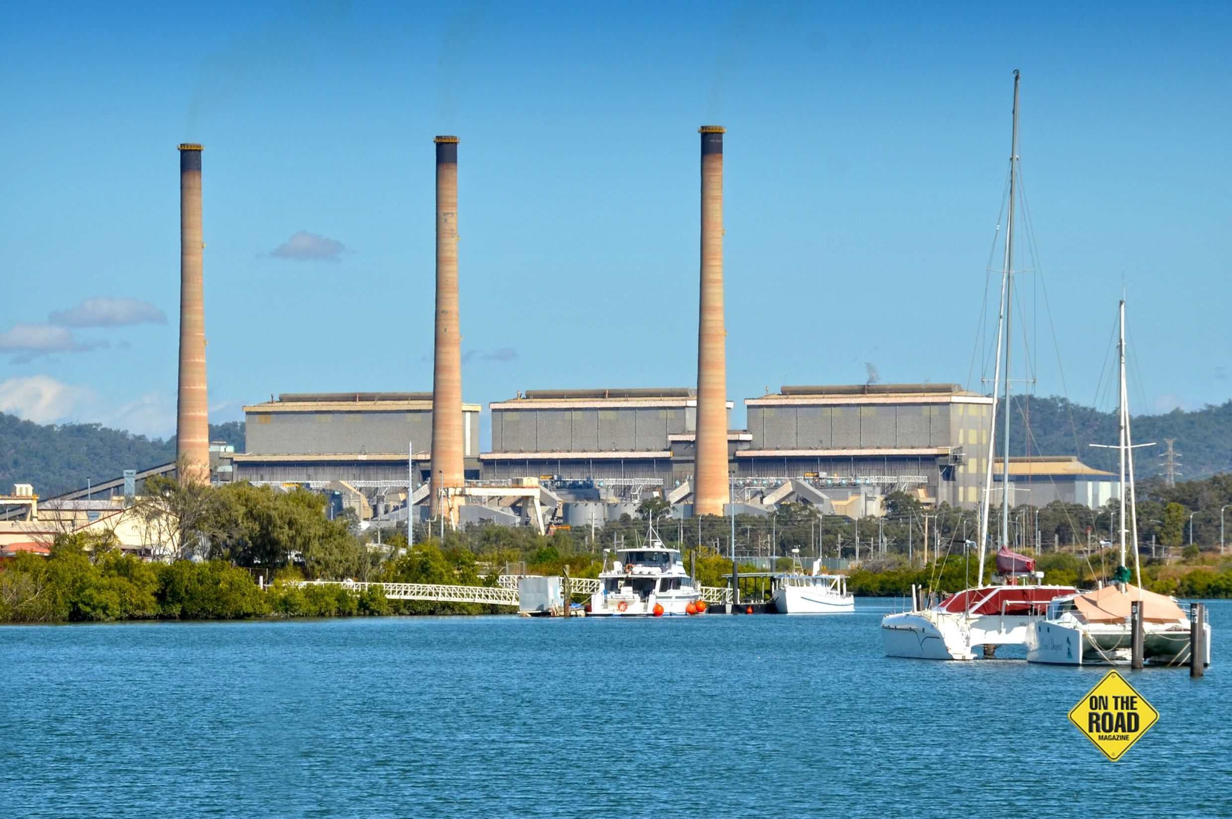 The NRG Power Station overlooks boats Moore in Calliope River