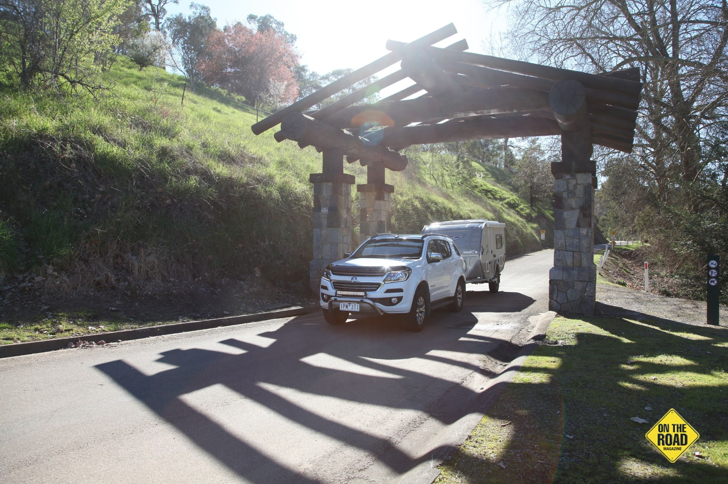 The impressive entrance to the Buchan Caves Reserve and Caravan Park